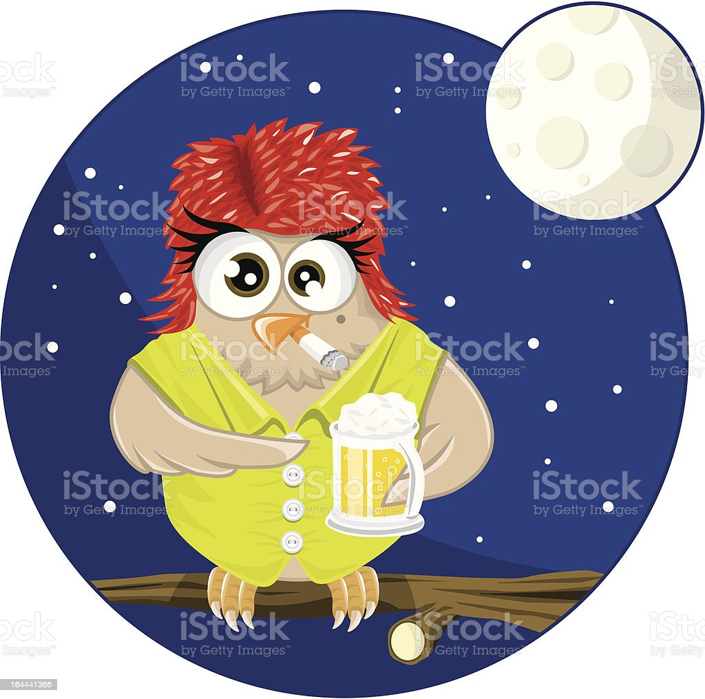 owl with red hair vector art illustration