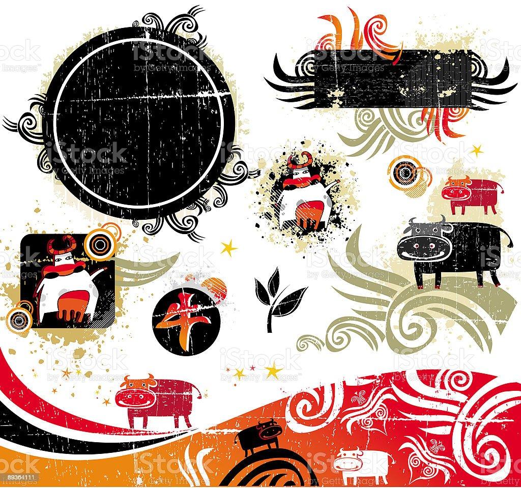 Ox  design elements vector art illustration