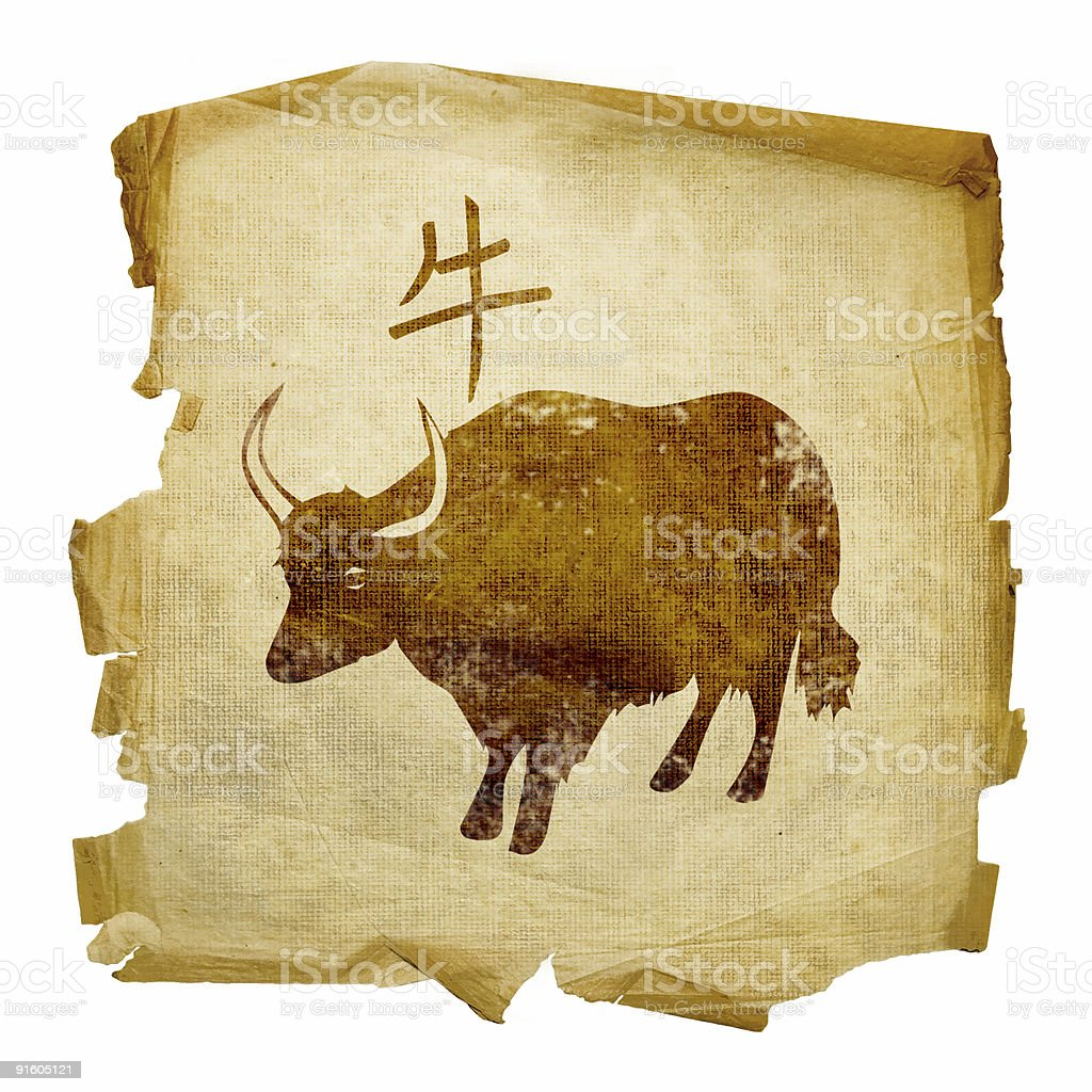 Ox Zodiac icon, isolated on white background. royalty-free stock vector art