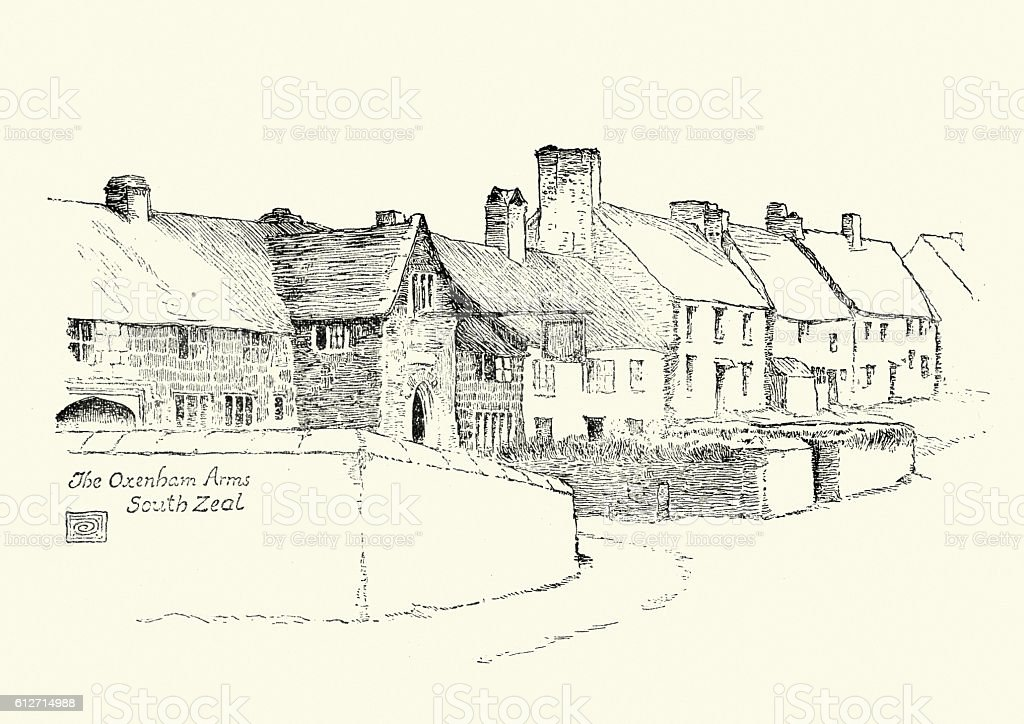 Oxenham Arms, South Zeal,  Dartmoor 19th Century vector art illustration
