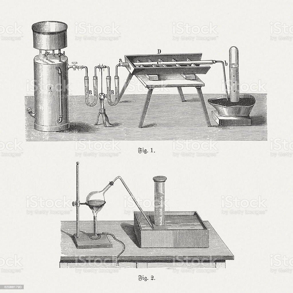 Oxygen, wood engravings, published in 1880 vector art illustration