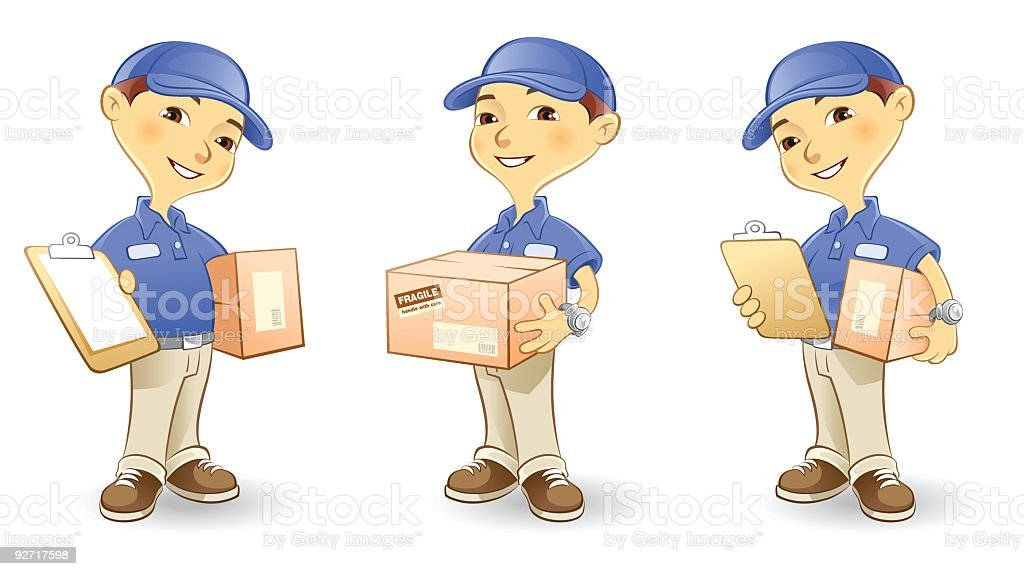 Package Delivery Man Carrying Box and Clipboard royalty-free stock vector art