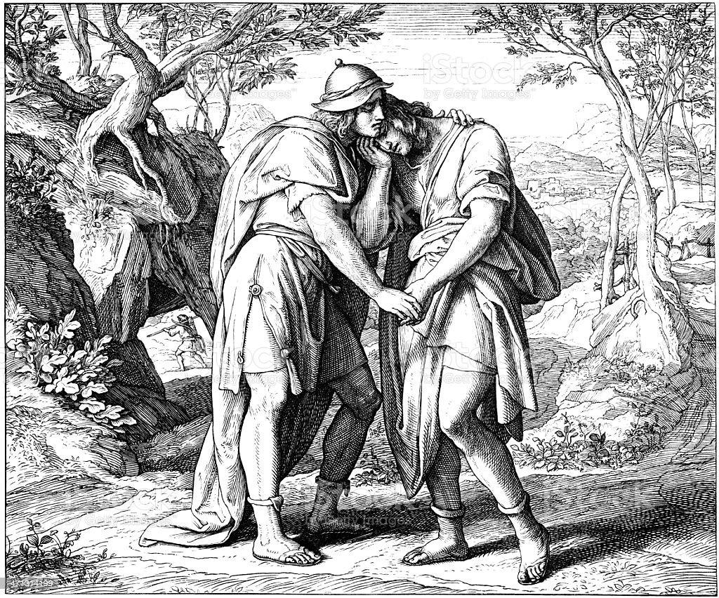 Pact Between David & Jonathan vector art illustration