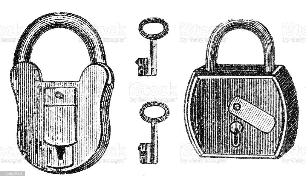 padlock engraving vector art illustration