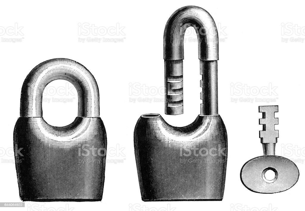 padlock vector art illustration