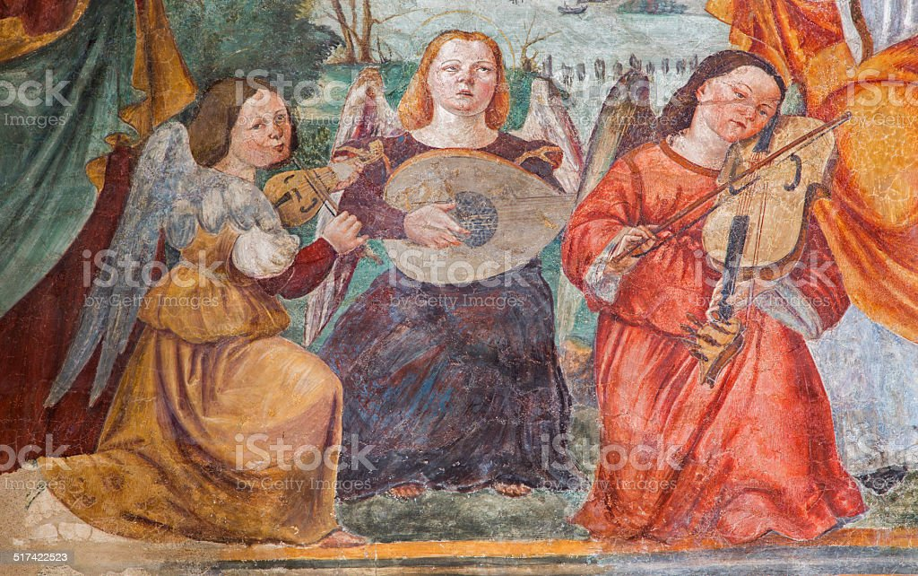 Padua - fresco of angels with the music instruments vector art illustration