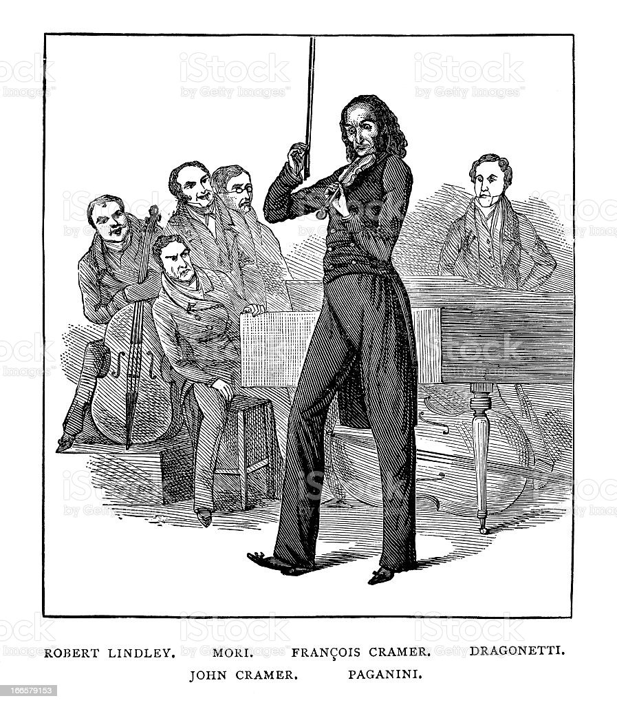 Paganini Performing - Antique Engraving royalty-free stock vector art