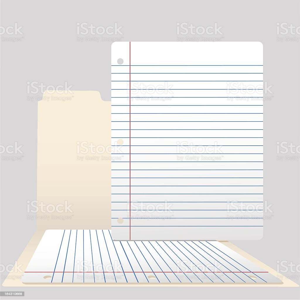 Pages of Ruled Notebook Paper in Open File Folder royalty-free stock vector art