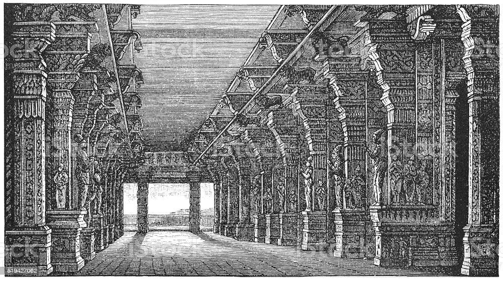 Pagoda at Madura, India vector art illustration