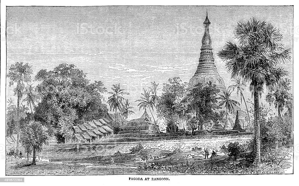 Pagoda at Rangoon vector art illustration
