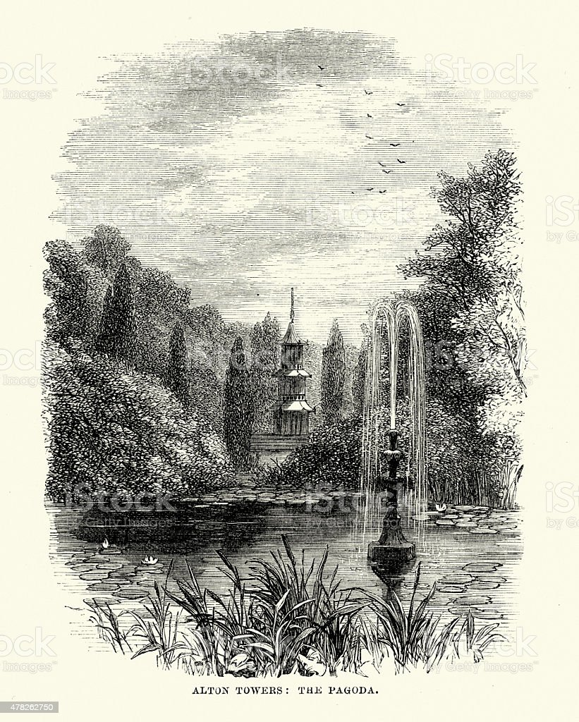 Pagoda of Alton Towers in 1869 vector art illustration