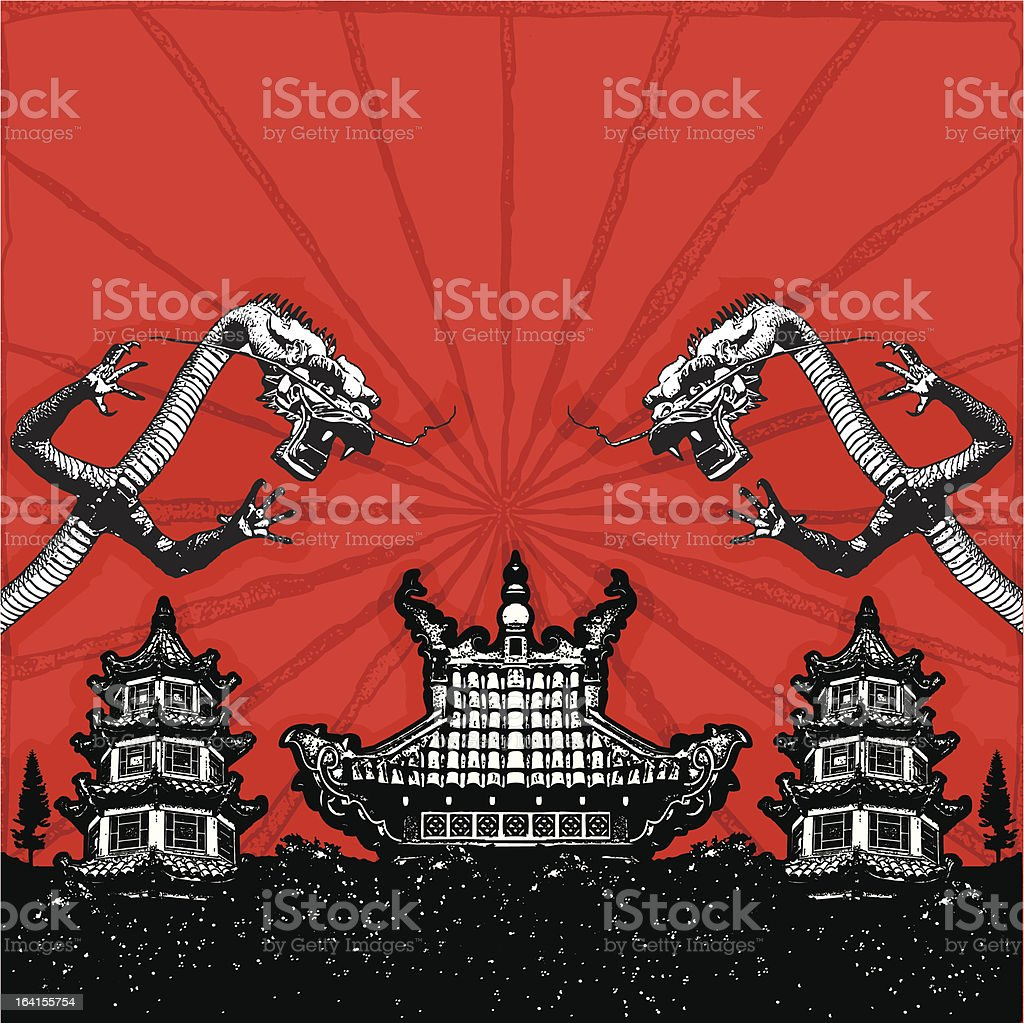 Pagoda scene with dragons royalty-free stock vector art