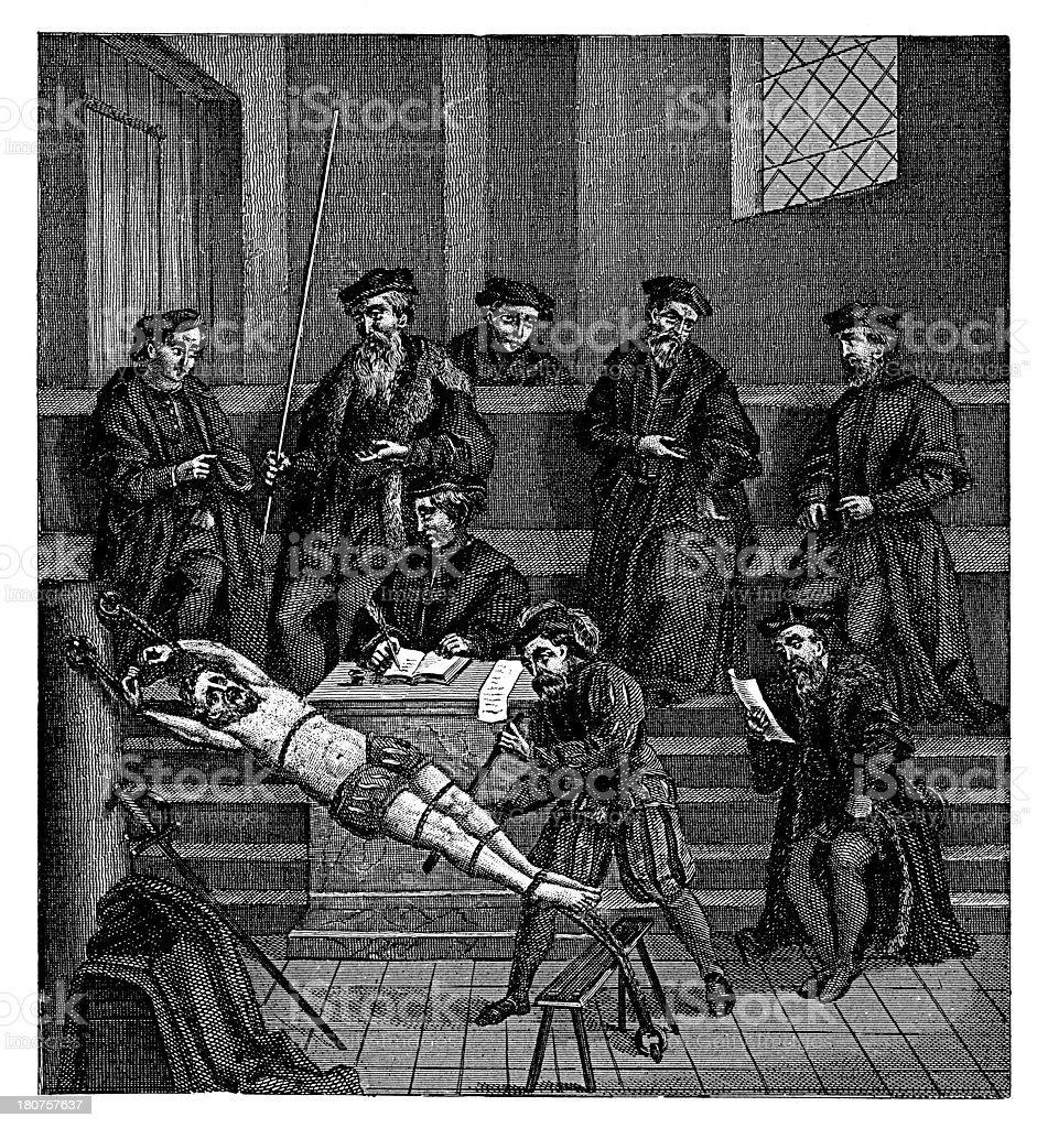 Painful interrogation from XVI century vector art illustration
