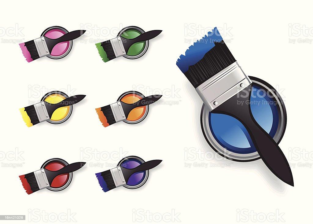 Farbe Pinsel und Eimer Lizenzfreies vektor illustration