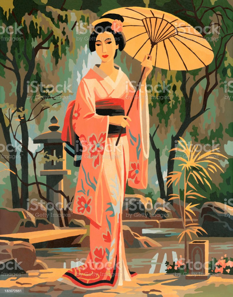 Paint By Number Asian Woman vector art illustration