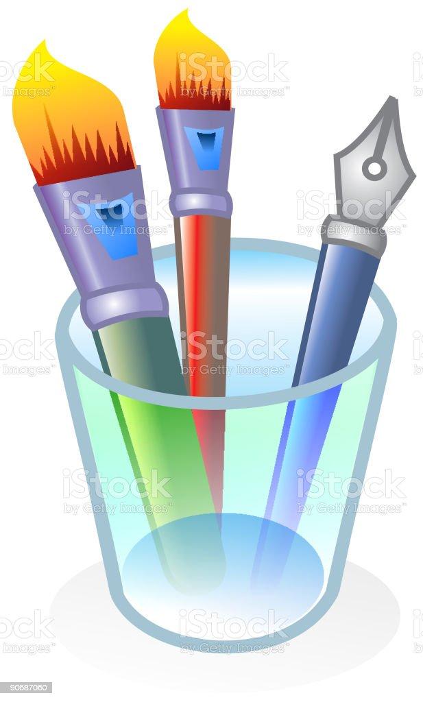 Paintbrushes en un recipiente de vidrio - ilustración de arte vectorial