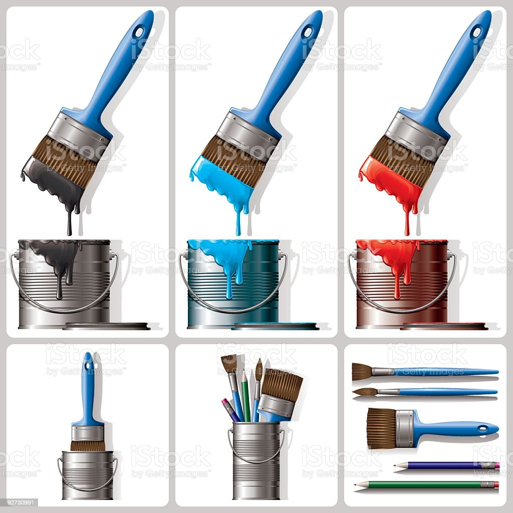 Paint,Brushes,Tins,Pencils royalty-free stock vector art