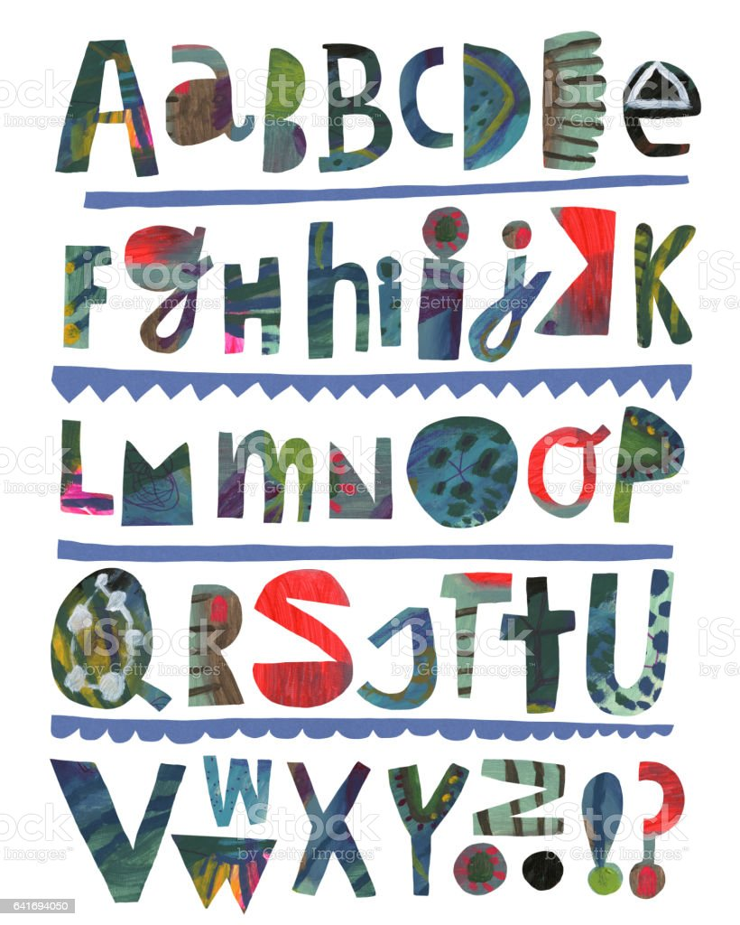 Painted alphabet vector art illustration