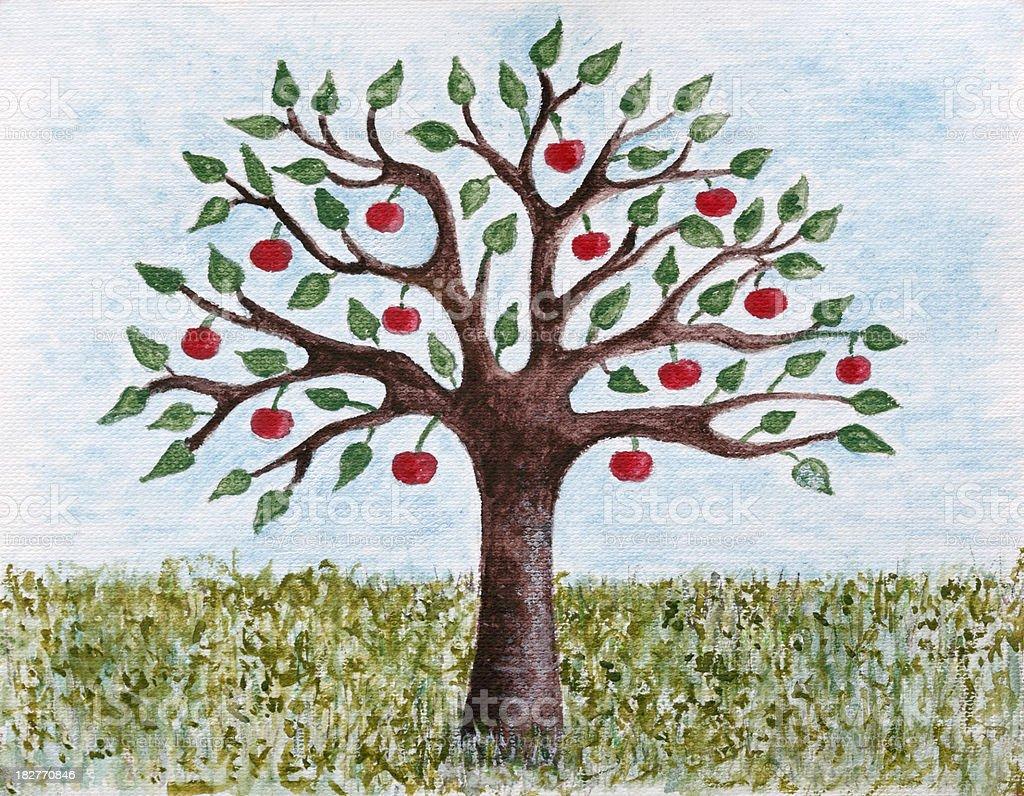 Painted Apple Tree royalty-free stock vector art