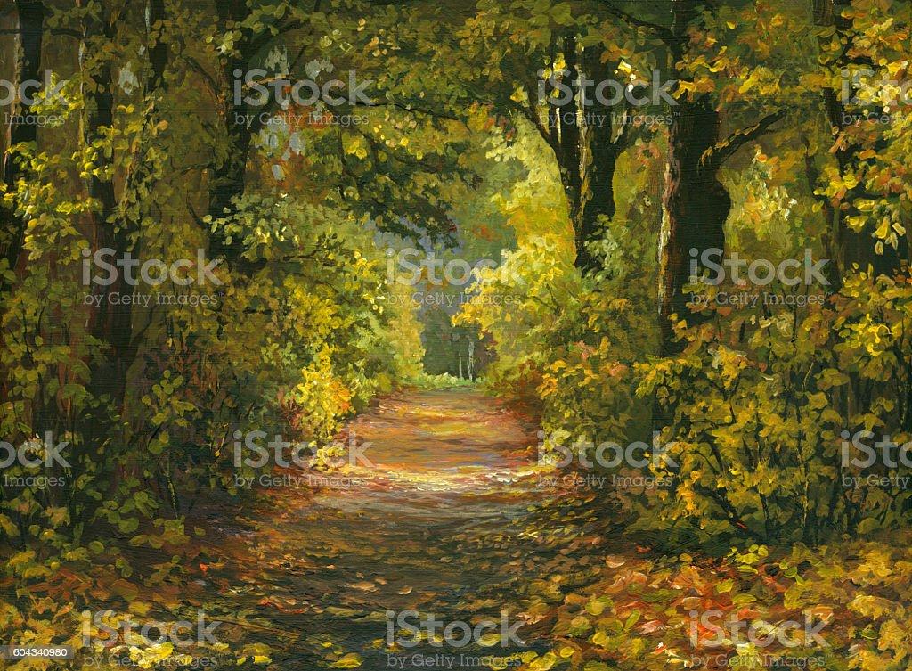painted autumn alley vector art illustration