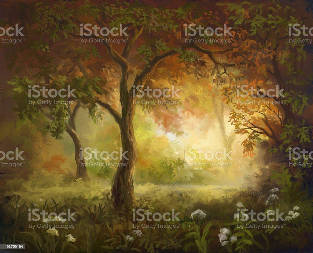 painted autumn vector art illustration