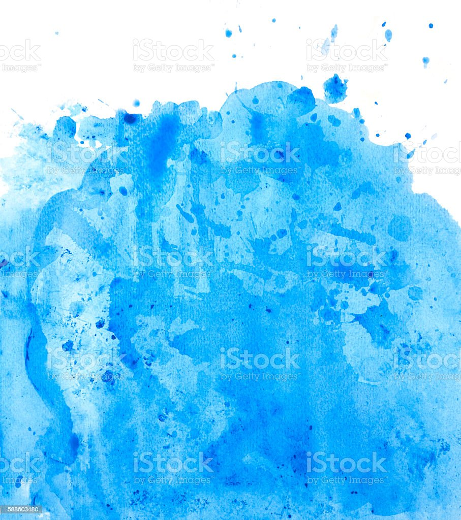 Painted blue watercolor background splash vector art illustration