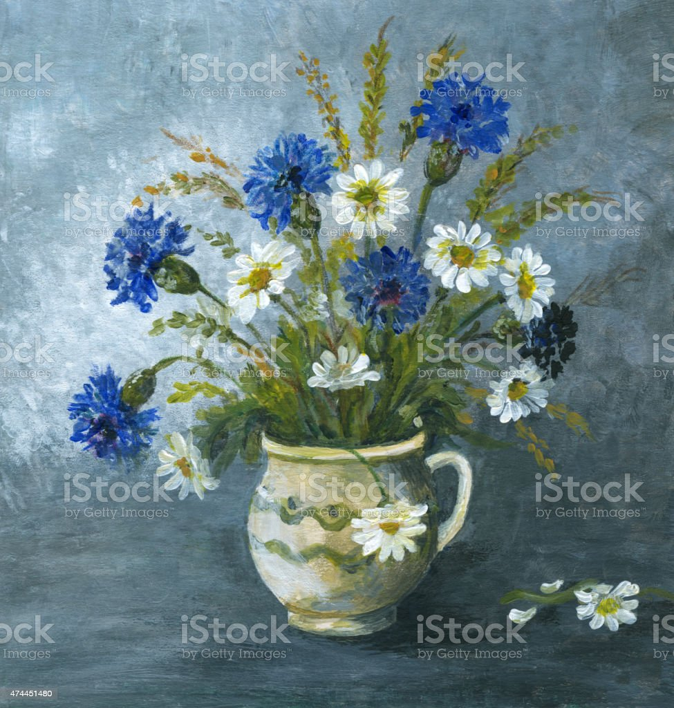 Painted corn flower and daisy arrangement in ceramic vase vector art illustration