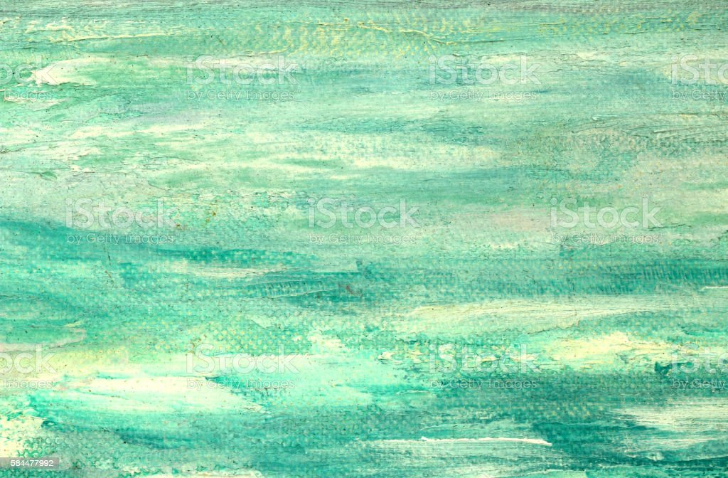 Painted green turquoise aqua background on canvas stock photo