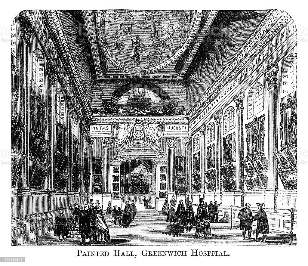 Painted Hall, Greenwich Hospital (Old Royal Naval College) 1871 engraving royalty-free stock vector art