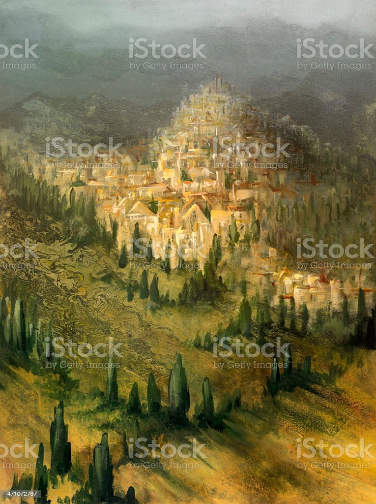 painted mediterranean landscape vector art illustration