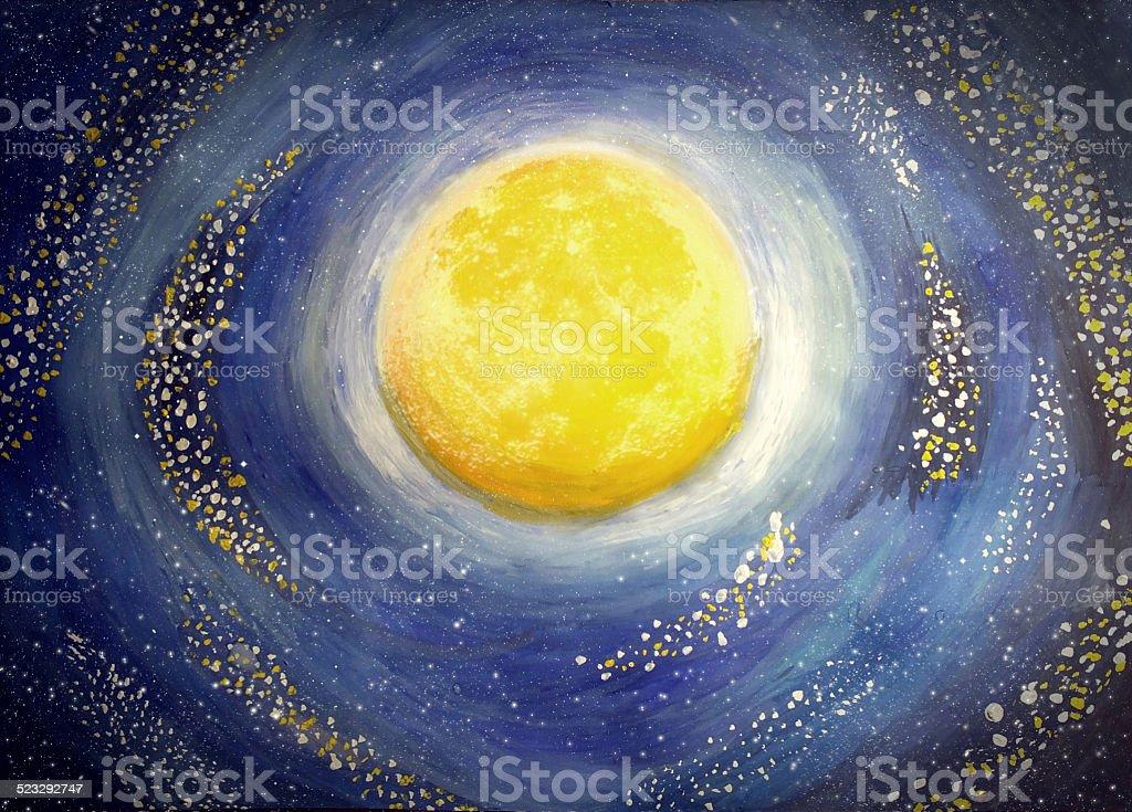 Painted moon vector art illustration