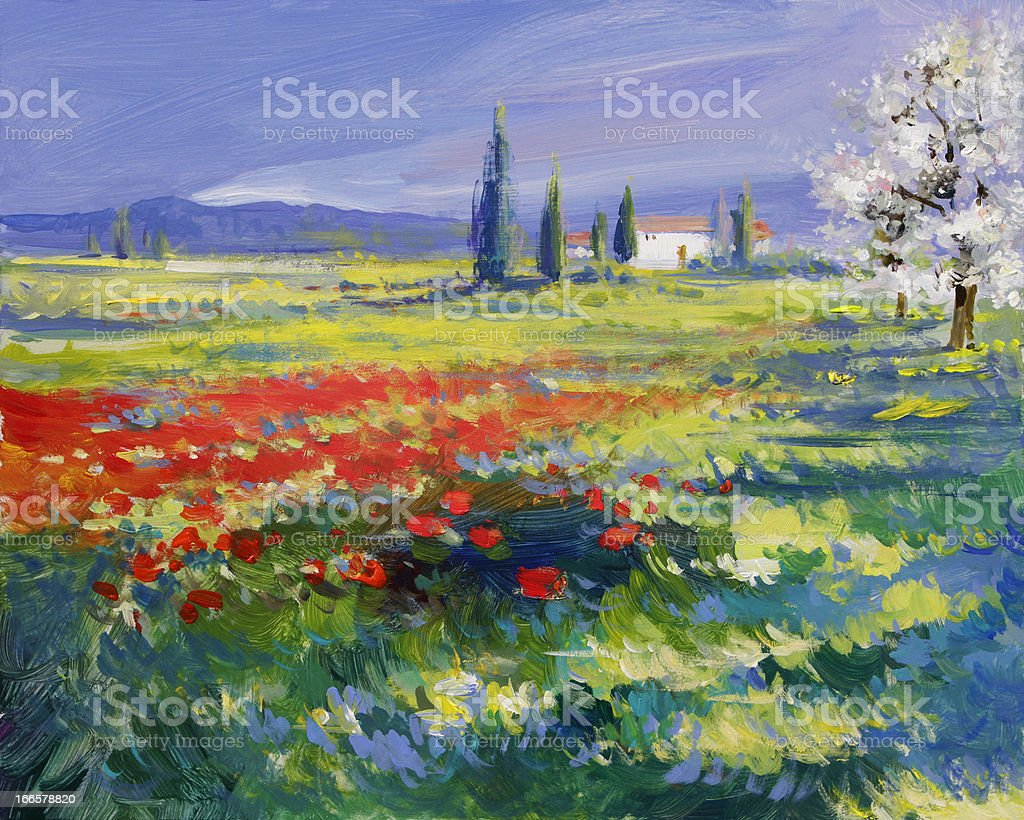 painted poppies on summer meadow vector art illustration