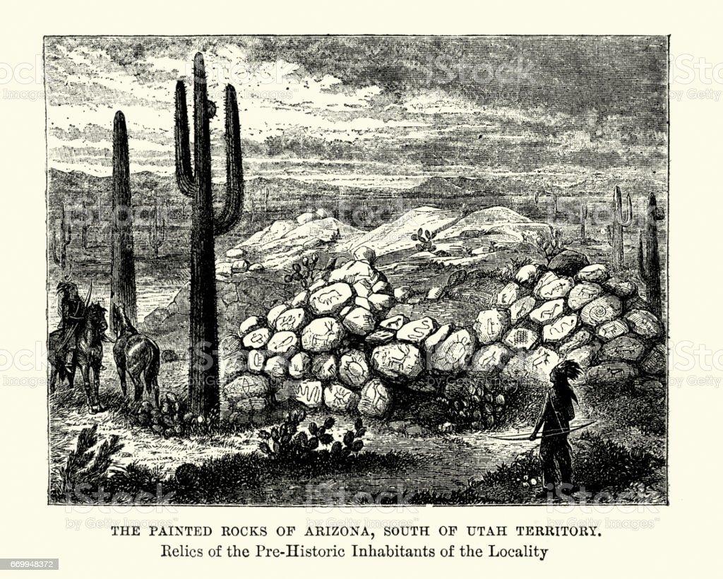 Painted Rock Petroglyph Site, Arizona, 19th Century vector art illustration
