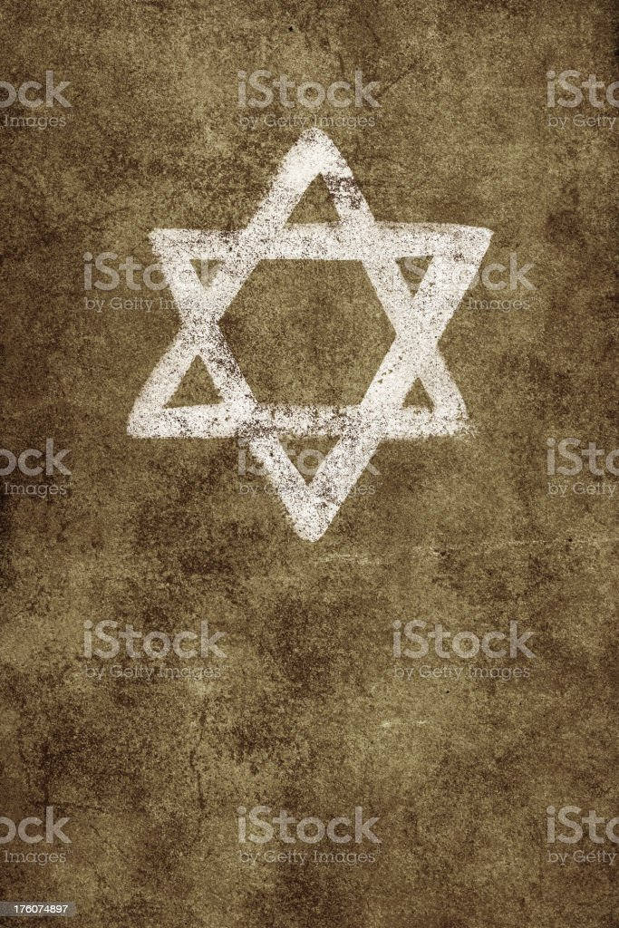 Painted Star of David on old textured wall vector art illustration