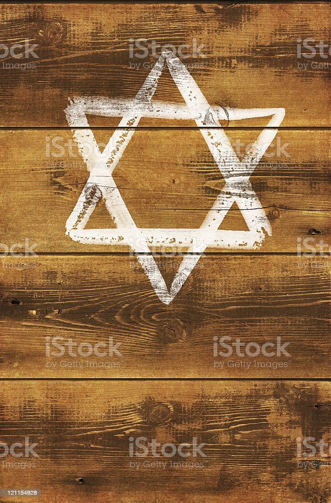 Painted Star of David on wooden ghetto fence vector art illustration
