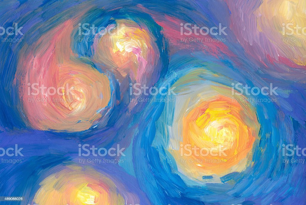 Painted stars - abstract art background vector art illustration