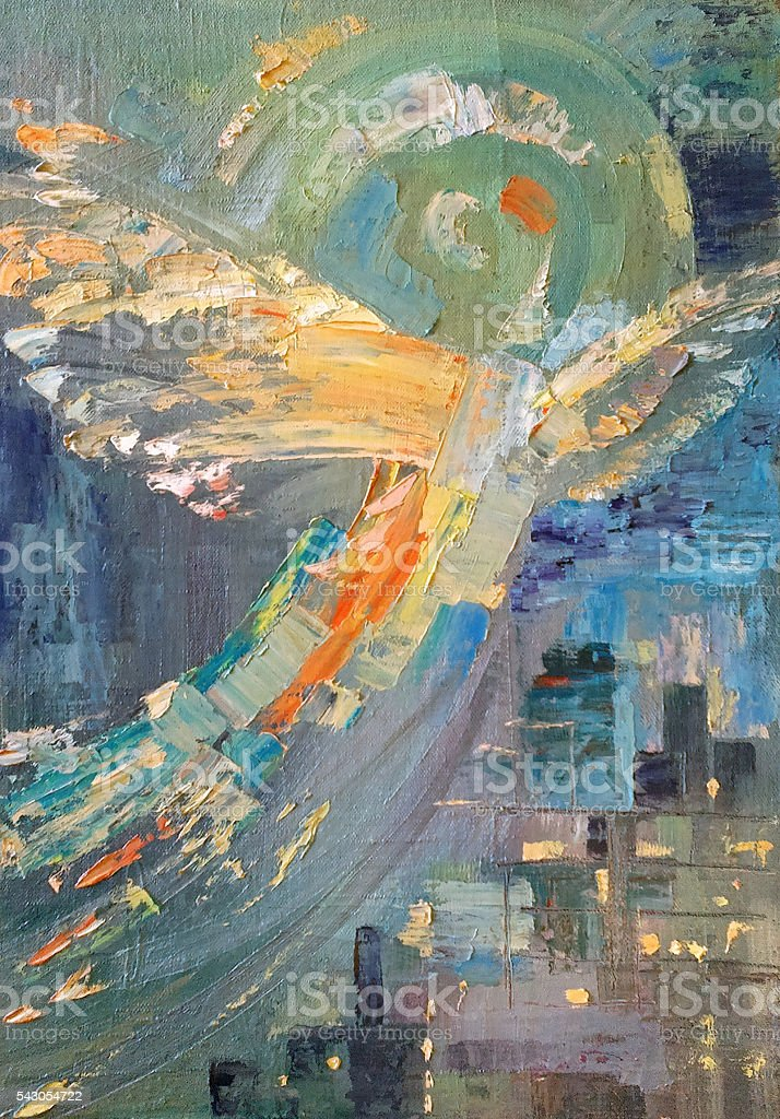 Painting, Abstract composition, Flight stock photo