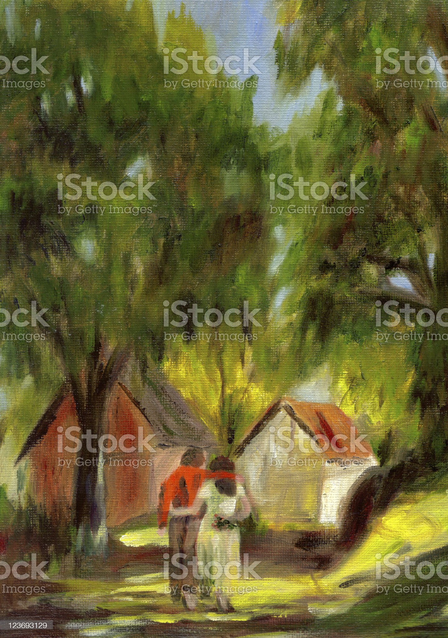 Painting  couple strolling lane in woods.  Farm buildings background. royalty-free stock vector art
