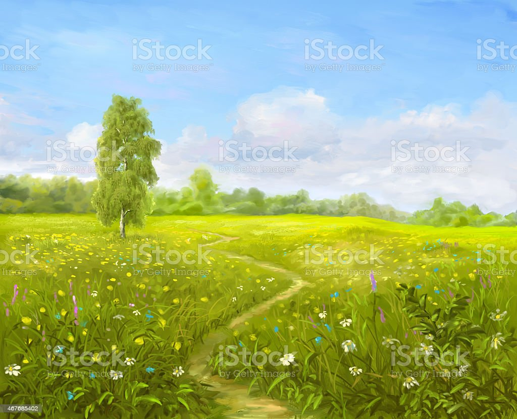 Painting Green Meadow vector art illustration