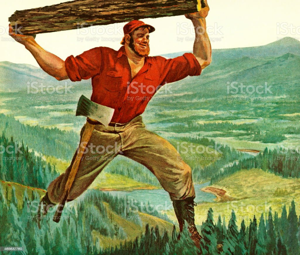A painting if Paul Bunyan carrying a log above his head vector art illustration