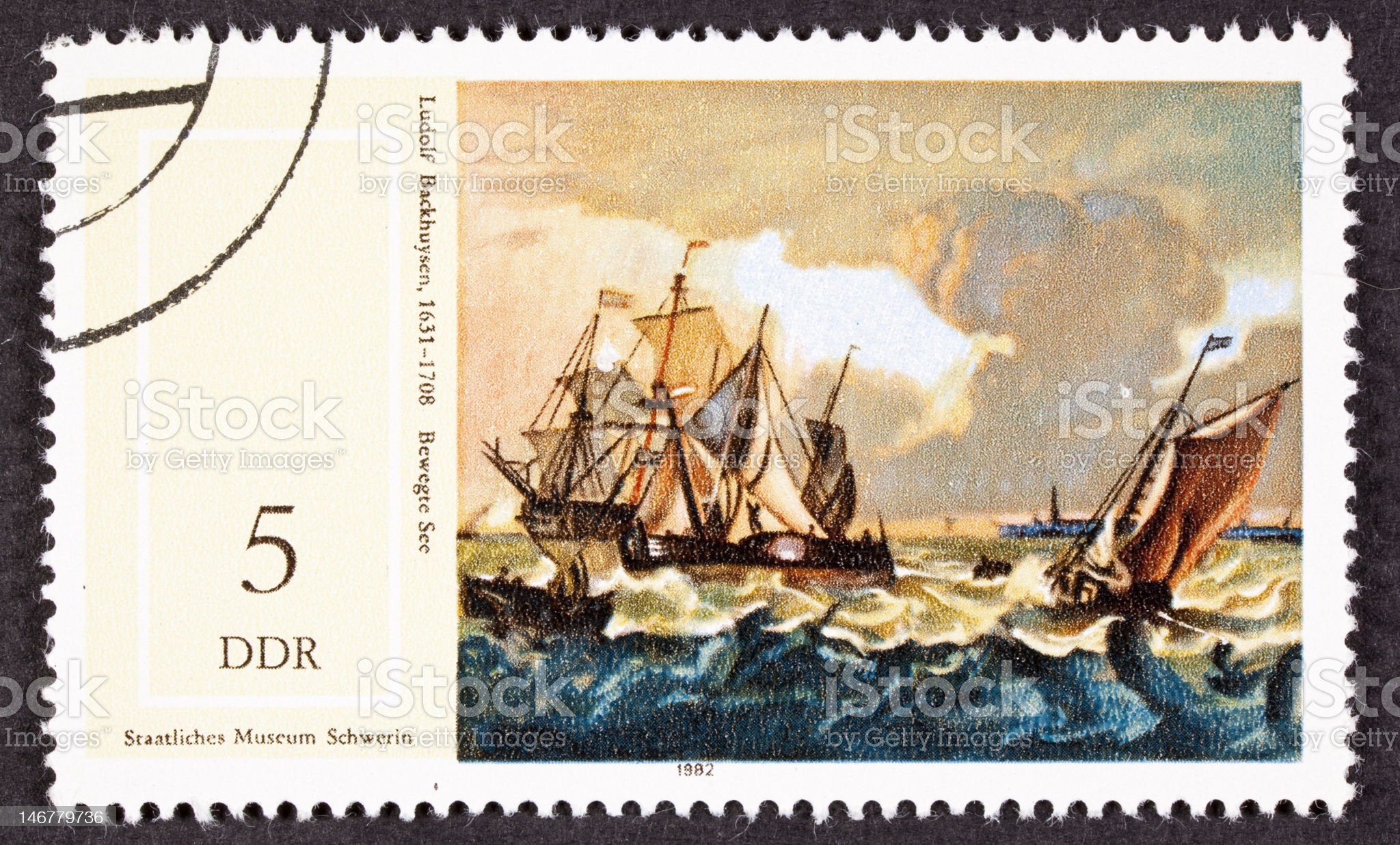 Painting Ludolf Backhuysen Bakhuizen Boats Rough Seas German Postage Stamp royalty-free stock vector art
