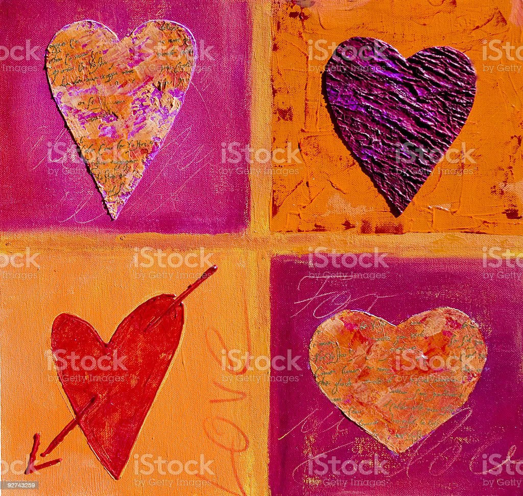 Painting of 4 hearts royalty-free stock vector art
