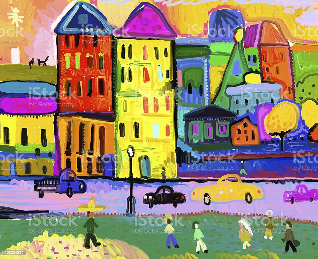 Painting of a colorful cityscape vector art illustration