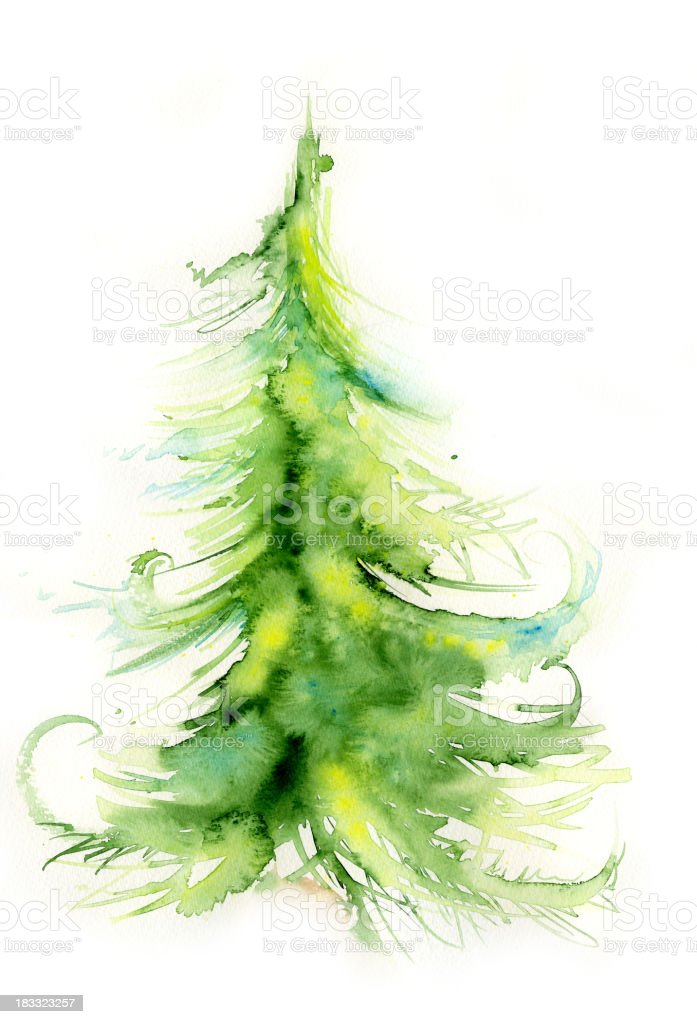 A painting of a green pine tree on a white canvas royalty-free stock vector art