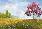 A painting of a hillside featuring a blossoming tree
