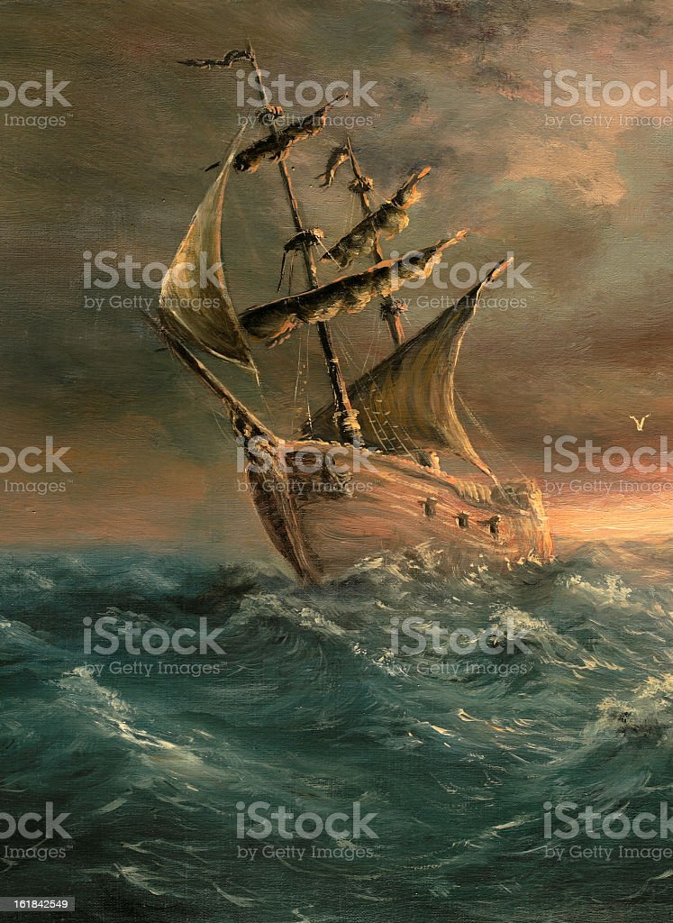 A painting of a ship that has just made it through a storm vector art illustration