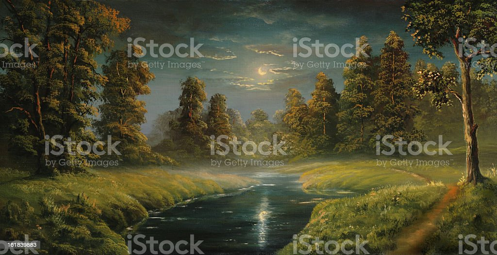 Painting of a stream and grass at night vector art illustration