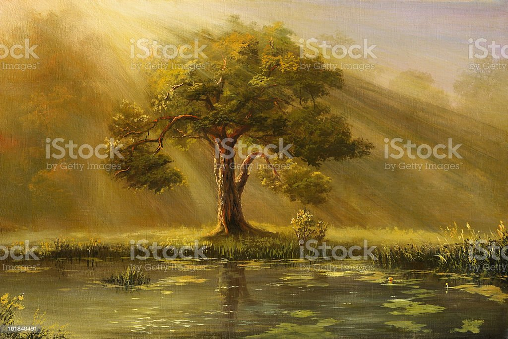A painting of a tree in fog with a pond and grass royalty-free stock vector art