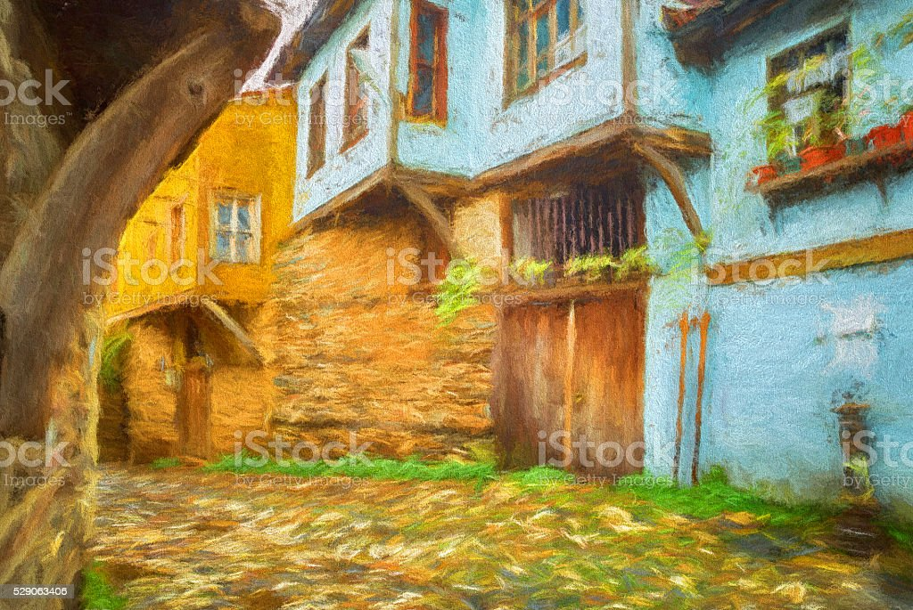 Painting of an old Traditional Turkish Village vector art illustration