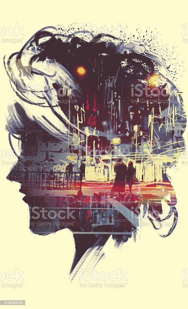 painting of double exposure concept vector art illustration